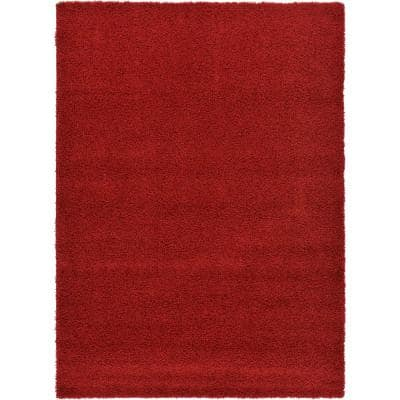 Solid Shag Cherry Red 7 ft. x 10 ft. Area Rug
