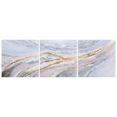 """Heavens-2"" by Martin Edwards Triptych Set Textured Metallic Abstract Hand Painted Wall Art 32 in. x 96 in."