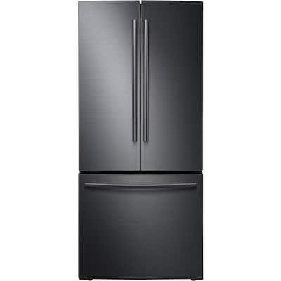 30 in. W 21.8 cu. ft. French Door Refrigerator in Fingerprint Resistant Black Stainless