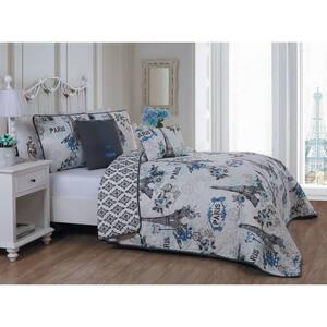 Cherie 5-Piece Blue Queen Quilt Set