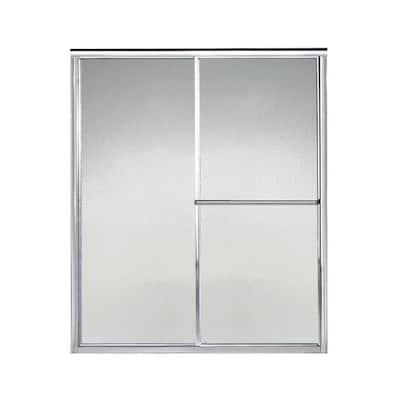 Deluxe 57-3/8 in. x 65-1/2 in. Framed Sliding Shower Door in Silver with Handle
