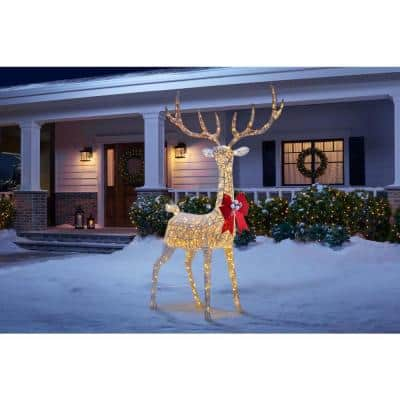 8.5 ft 320-Light Polar Wishes Giant-Size White LED Deer with Bow Yard Sculpture