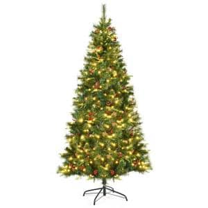 7 ft. Pre-Lit Hinged Artificial Christmas Tree with 350 LED Lights
