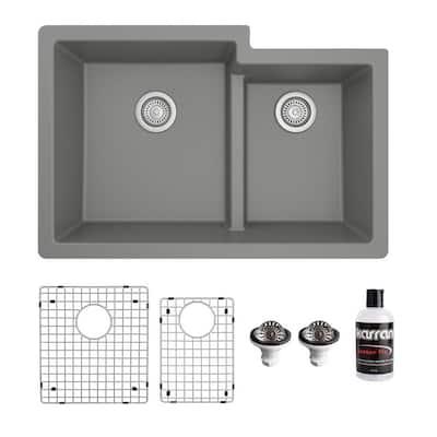 QU-811 Quartz/Granite 32 in. Double Bowl 60/40 Undermount Kitchen Sink in Grey with Bottom Grid and Strainer