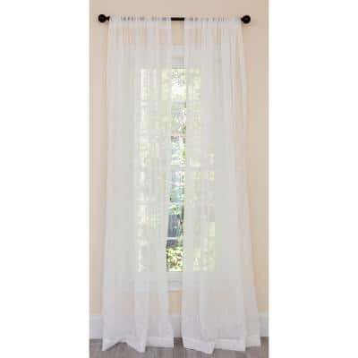 White Geometric Embroidered Rod Pocket Sheer Curtain - 54 in. W x 84 in. L (1-Piece)