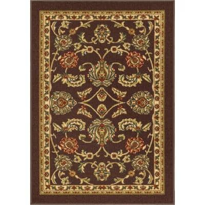 Kings Court Tabriz Brown 8 ft. x 10 ft. Traditional Oriental Area Rug