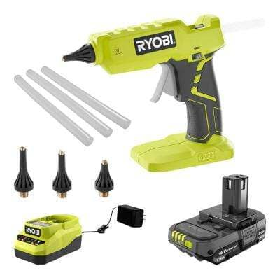 ONE+ 18V Cordless Full Size Glue Gun Kit w/ Battery, Charger, and 3-Piece Glue Gun Accessory Nozzles