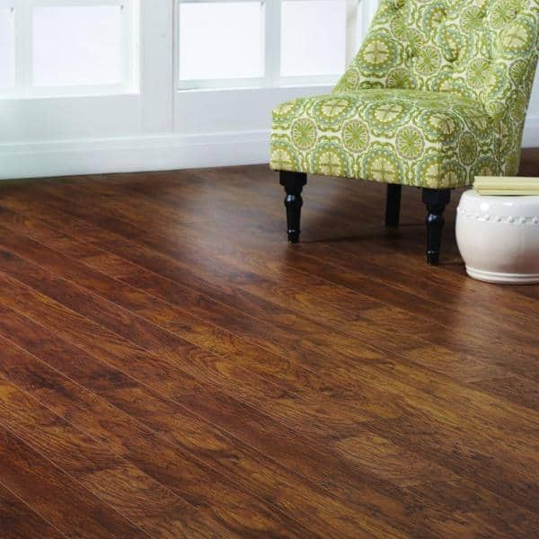 Home Decorators Collection Hand Scraped Medium Hickory 12 Mm Thick X 5 9 32 In Wide X 47 17 32 In Length Laminate Flooring 12 19 Sq Ft Case 368301 00256 The Home Depot