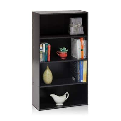 41.7 in. Espresso Wood 4-shelf Standard Bookcase with Storage