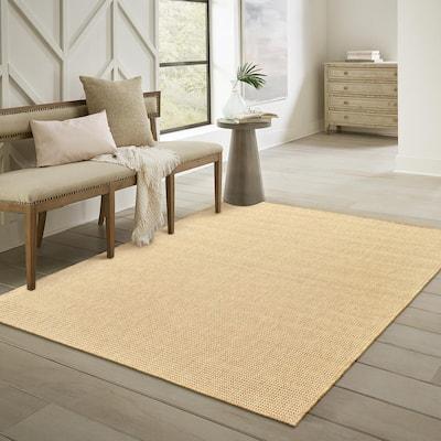 Caicos Solid Basket Weave Sand- 7 ft. 10 in. x 10 ft. 10 in. Indoor/Outdoor Area Rug