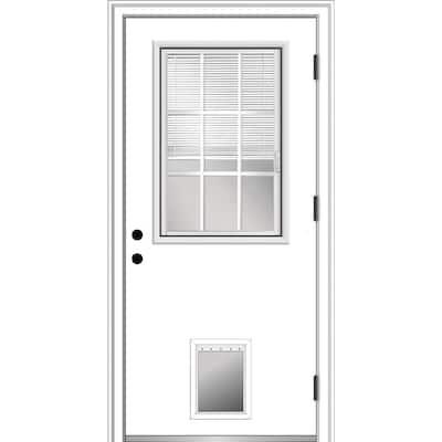 36 in. x 80 in. Internal Blinds/Grilles Left-Hand Outswing 1/2 Lite Clear Primed Steel Prehung Front Door with Pet Door