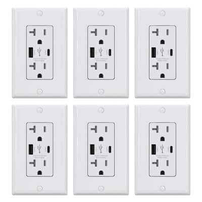 25-Watt 20 Amp Type A & C Dual USB Wall Charger with Duplex Tamper Resistant Outlet, Wall Plate Included, White (6-Pack)