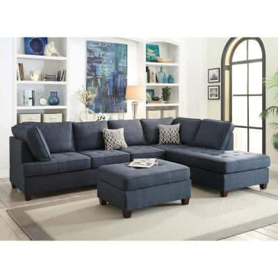 Blue Sectionals Living Room Furniture The Home Depot