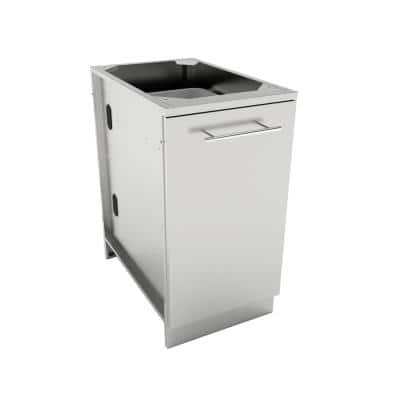 Designer Series 304 Stainless Steel 18 in. x 34.5 in. x 28.25 in. Trash Drawer Cabinet with 2-Top Loading Bins