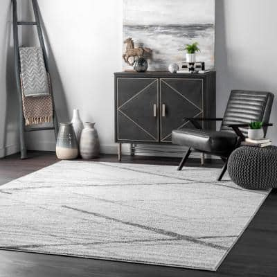 Thigpen Contemporary Stripes Gray 9 ft. x 12 ft. Area Rug
