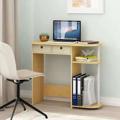 32 in. Rectangular Beech 2 Drawer Computer Desk with Built-In Storage