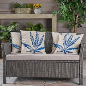 Cypress Beige and Blue Square Outdoor Throw Pillows (Set of 4)