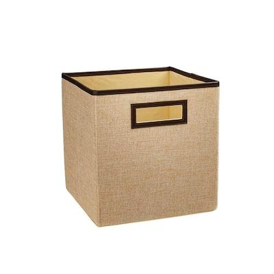 11 in. H x 10.5 in. W x 10.5 in. D Beige Fabric Cube Storage Bin