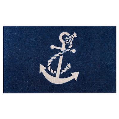 Nautical Anchor 18 in. x 30 in. Coir Outdoor Door Mat Welcome Mat