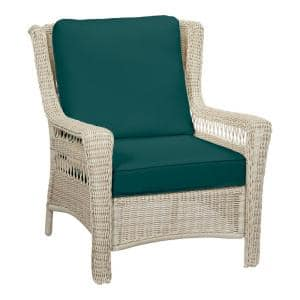 Park Meadows Off-White Wicker Outdoor Patio Lounge Chair with CushionGuard Malachite Green Cushions