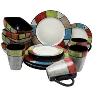 Country Cottage 16-Piece Contemporary Multi-colored Stoneware Dinnerware Set (Service for 4)