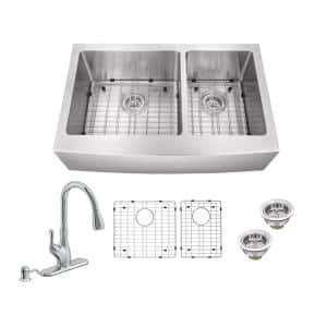 All-In-One Farmhouse Apron Front 16-Gauge Stainless Steel 35-7/8 in. 60/40 Double Bowl Kitchen Sink and Gooseneck Faucet