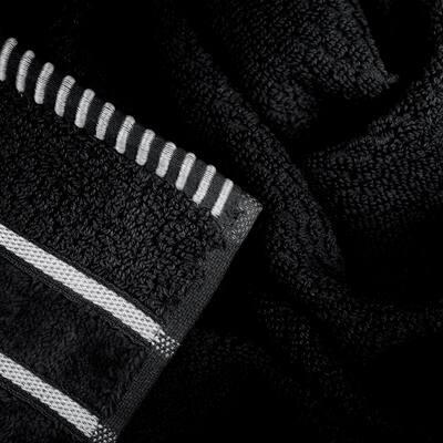 6-Piece Black Combed Cotton Towel Set