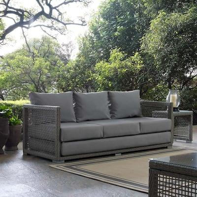 Aura Gray Wicker Outdoor Sofa with Gray Cushions