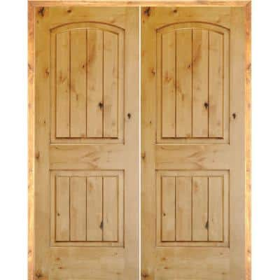 72 in. x 80 in. Rustic Knotty Alder 2-Panel Arch-Top VG Both Active Solid Core Wood Double Prehung Interior French Door