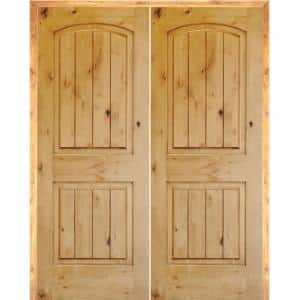 72 in. x 80 in. Rustic Knotty Alder 2-Panel Arch-Top VG Right-Handed Solid Core Wood Double Prehung Interior French Door