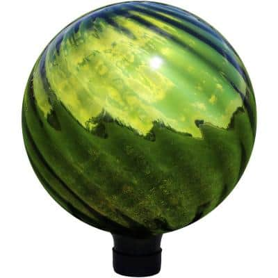 10 in. Green Rippled Mirrored Surface Outdoor Gazing Globe Ball