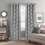Grey Trellis Grommet Room Darkening Curtain - 52 in. W x 84 in. L