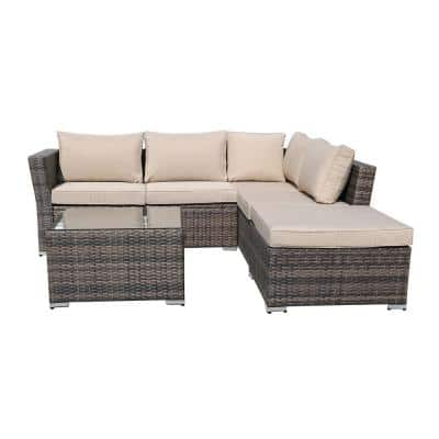 KD PE Rattan Wicker Outdoor Sofa with Beige Cushions (Set of 4)