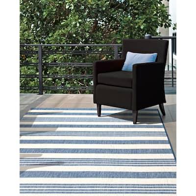 Robin Striped Coastal Blue 8 ft. x 11 ft.  Indoor/Outdoor Area Rug