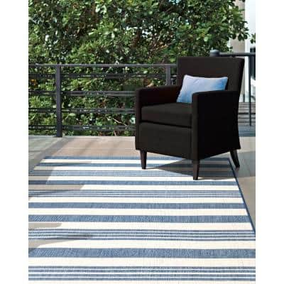 Robin Striped Coastal Blue 8 ft. x 8 ft. Indoor/Outdoor Square Rug