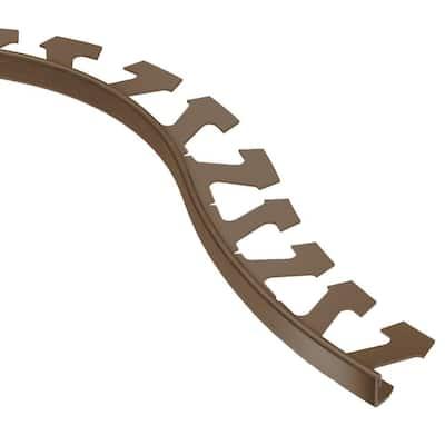 Jolly Brushed Antique Bronze Anodized Aluminum 3/8 in. x 8 ft. 2-1/2 in. Metal Radius Tile Edging Trim