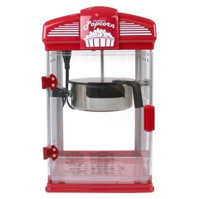 4-Quart Red Hot Oil Movie Theater Style Popcorn Popper Machine with Nonstick Kettle Includes Measuring Cup and Scoop