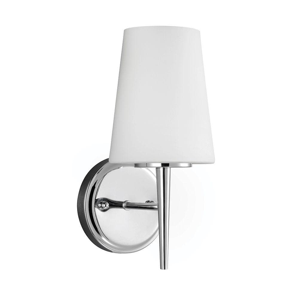 Sea Gull Lighting Driscoll 5 25 In W 1 Light Chrome Wall Bath Sconce With Inside White Etched Glass 4140401 05 The Home Depot