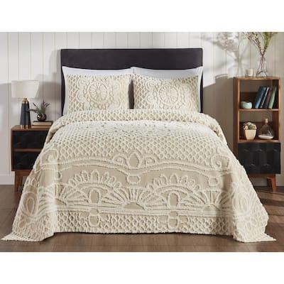 Ardent Collection 3-Piece Beige King 100% Cotton Bedspread Set