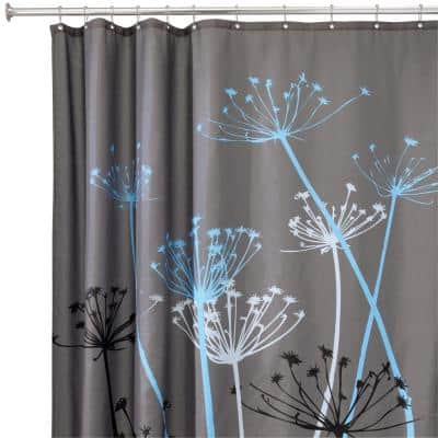 Thistle 72 in. x 72 in. Shower Curtain in Gray/Blue