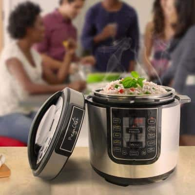6 Qt. Black Electric Pressure Cooker with Built-In Timer