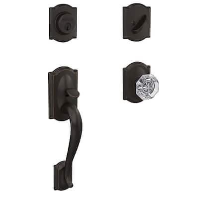 Custom Camelot Aged Bronze Single Cylinder Door Handleset with Alexandria Glass Door Knob with Camelot Trim