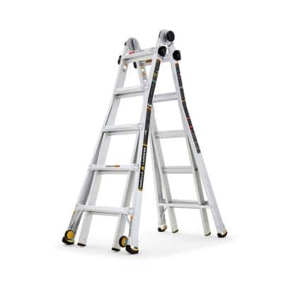 22 ft. Reach MPXW Aluminum Multi-Position Ladder with Wheels, 375 lb. Load Capacity Type IAA Duty Rating