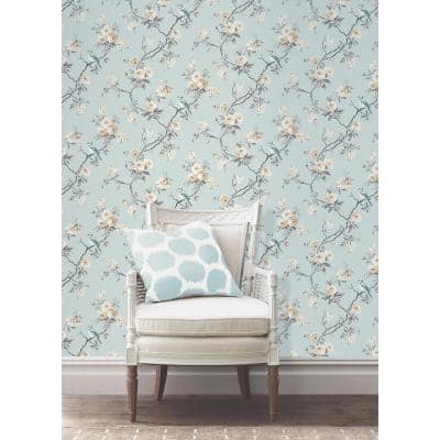 Chinoiserie Blue Floral Paper Peelable Roll Wallpaper (Covers 56.4 sq. ft.)