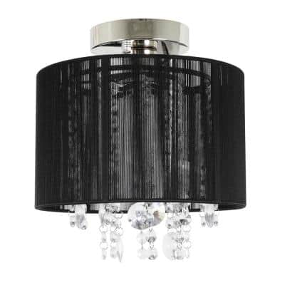 Silvia 9.84 in. 1-Light Polished Nickel and Black String Beaded Flush Mount Light