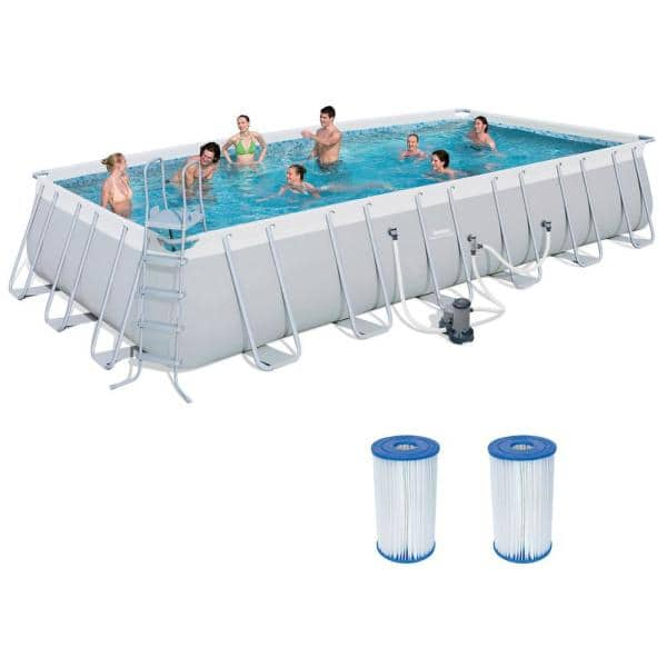 Bestway Bestway 4 Ft X 12 Ft Above Ground Pool Set With Ladder Pump And Cartridges 2 Pack 56542e Bw 2 X 58095e Bw The Home Depot