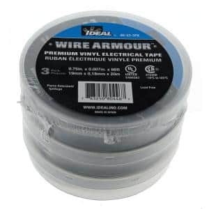 Wire Armour 3/4 in. x 66 ft. x 0.007 in. 33 Premium Vinyl Tape, Black (3-Pack)