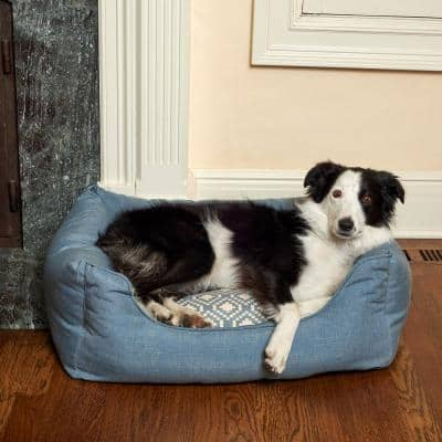 Willow Small Niagra Blue Geometric Olefin Cuddler Pet Bed