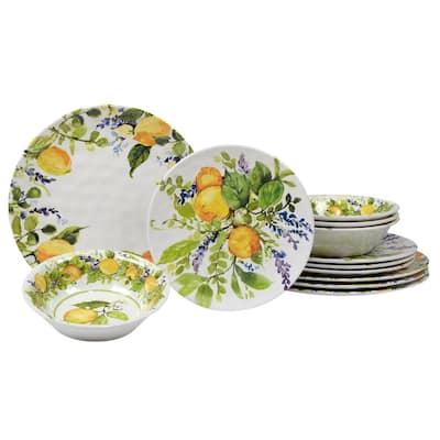 Lemon Zest 12-Piece Melamine Dinnerware Set (Service Set for 4)