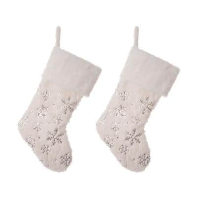 21 in. H Polyester White Plush Stocking with Snowflake Christmas (2-Pack)